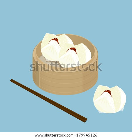 A illustration of Chinese dim sum, Char Siu Bao, Barbecued pork bun - stock photo
