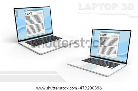 A illustration of 3D black and white perspective laptop set with Display interface text frame