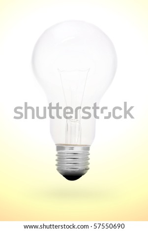 A incandescent light bulb on gradient background