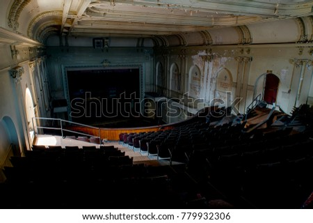 A inside an abandoned and historic theater in the South Side Slopes of Pittsburgh, Pennsylvania.