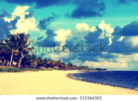 A instagram-type filtered image of Smathers Beach, Key West, Florida. - stock photo