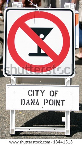 a international No alcohol sign in Dana Point - stock photo