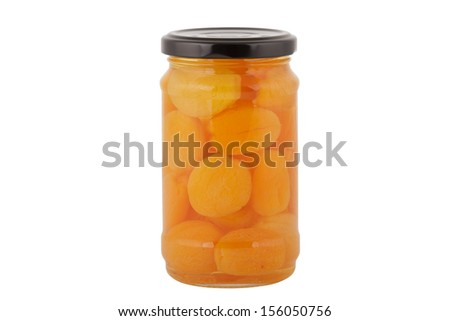 A Jar of Dried Apricots in Light Syrup Isolated on a White Background