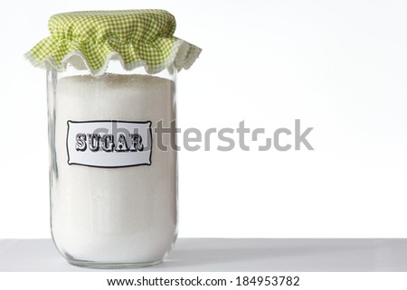A jar of sugar isolated on white background