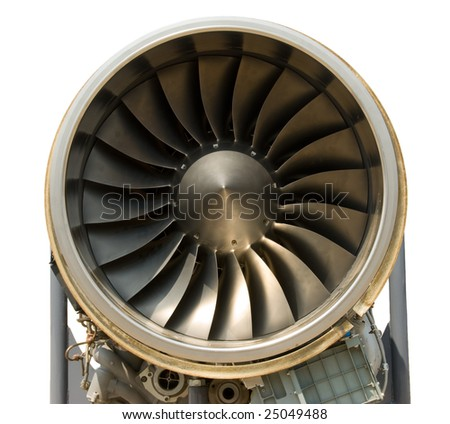 A jet engine - close up, isolated with path - stock photo