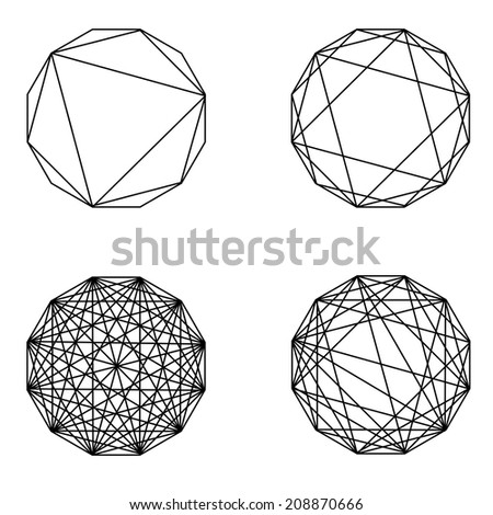 A jpeg version of a set of dodecahedron graphics - stock photo