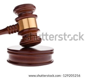 a judge or auction hammer hammer. isolated against white background - stock photo