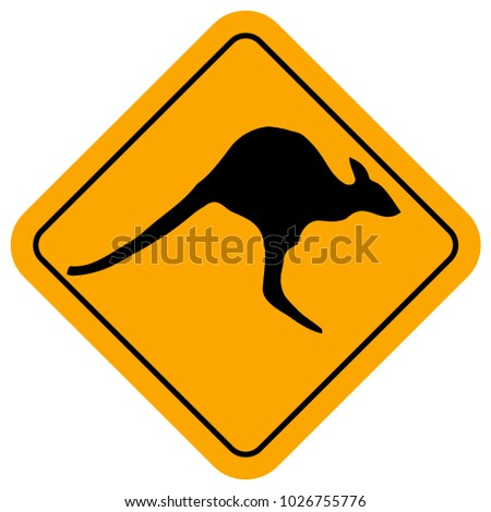 A jumping kangaroo silhouette within a kangaroo crossing sign over a white background