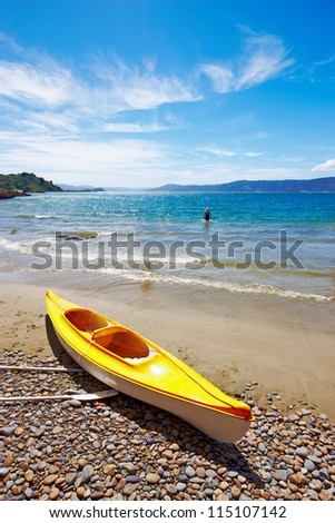 A Kayak on the beach - New Zealand, Karaka Bay,