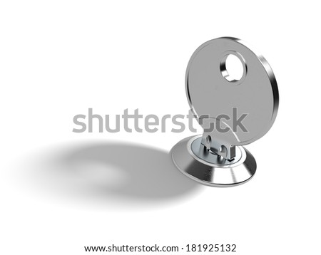 A key in the lock on white background with clipping path