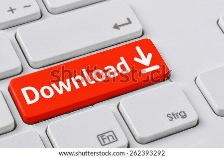 A keyboard with a red button - Download - stock photo