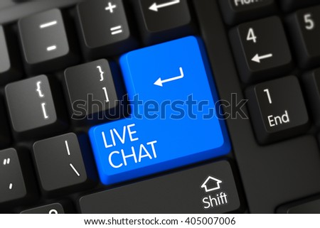 A Keyboard with Blue Button - Live Chat. PC Keyboard Keypad Labeled Live Chat. Blue Live Chat Key on Keyboard. Keypad Live Chat on Computer Keyboard. 3D. - stock photo
