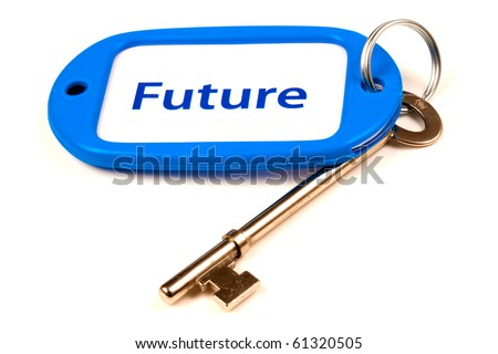 A Keyring with Future printed on it attached to a key - stock photo