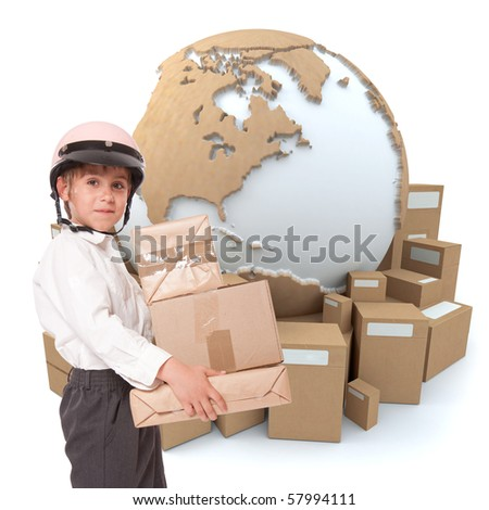 A kid with a helmet carrying parcels with the Earth surrounded by boxes on the background - stock photo