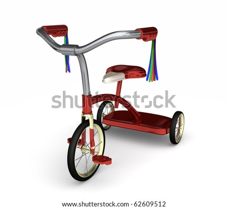 A kids red tricycle complete with colored tassels isolated on white - stock photo