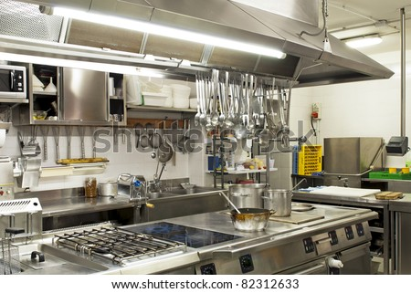 A kitchen in a restaurant - stock photo