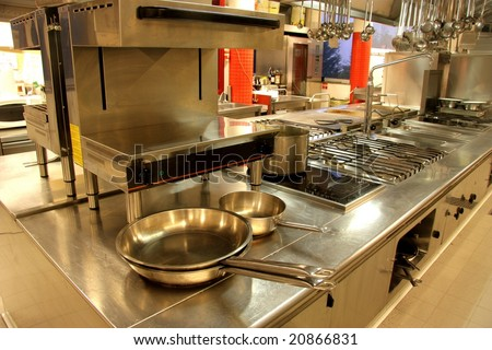 a kitchen of a restaurant - stock photo