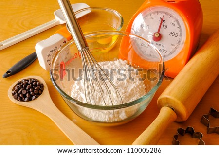 A kitchen scene with  the ingredients for baking. - stock photo