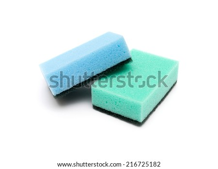 A kitchen sponge isolated against white background - stock photo
