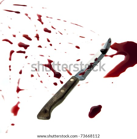 A knife is covered with a fresh blood. Isolated on white
