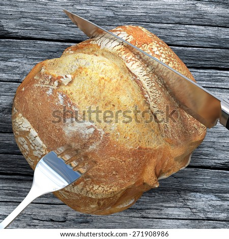 A knife is slicing a bread campaign on a wooden and old table. We can almost smell, touch and eat this bread. - stock photo