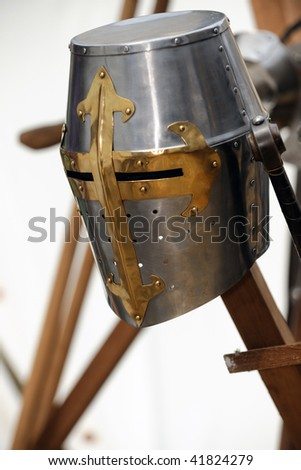 A knight Helmet in a medieval festival - stock photo