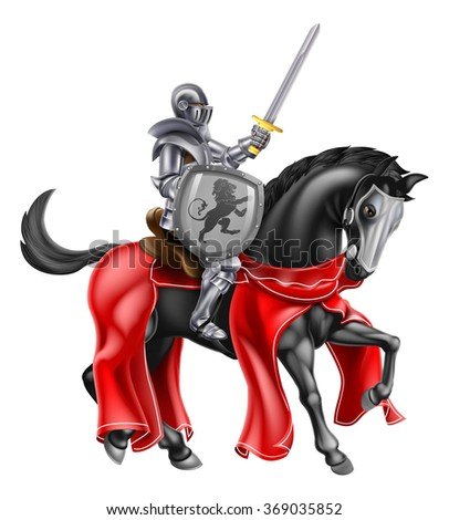 A knight holding a sword and shield on the back of a black horse - stock photo