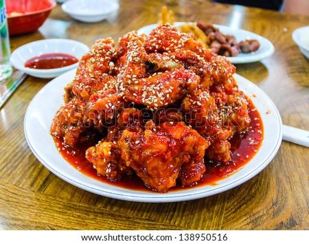 A Korean chicken dish - stock photo