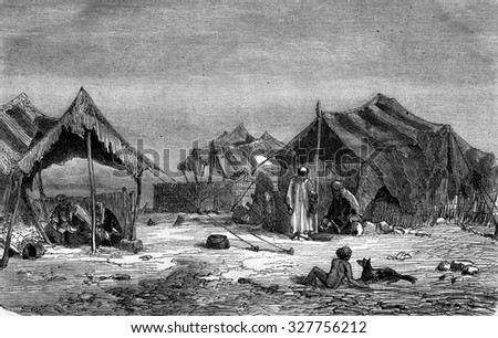 A Kurdish camp in Diyarbakir, vintage engraved illustration. Magasin Pittoresque 1877.