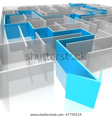 a labyrinth of transparent blocks through which the blue arrow. 3d computer modeling - stock photo