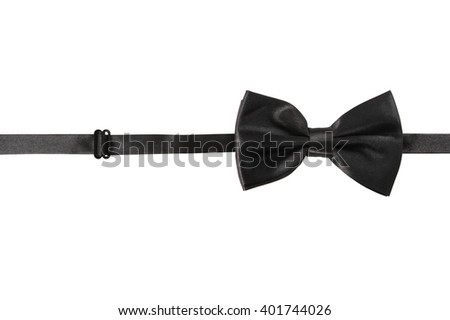 A lack bow Tie, isolated on white background - stock photo