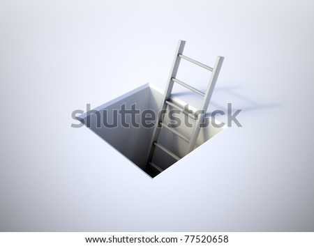 A ladder leading from underground - stock photo