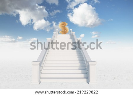 A ladder to money over blue sky background.  - stock photo