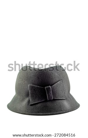 A ladies black dressy hat isolated on a white background with plenty of space for text