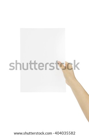 A lady hand holding a blank page