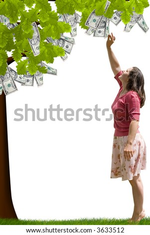 a lady reaching up to pick money from a tree