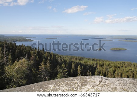 A Lake in Finland. Photographed in Koli National Park in eastern Finland. - stock photo