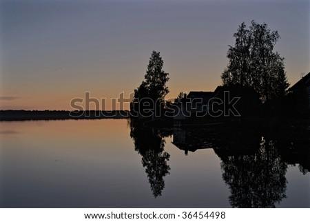 A lake near Oulu during early fall - stock photo