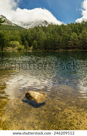 A lake on a day with clouds - stock photo