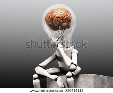 a lamp character with a human brain into his bulb light is sitting on squared stone and has his left hand under his chin how to think to solve a problem, on a dark grey background - stock photo