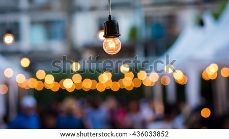 A lamp of many Bokeh in night life - stock photo
