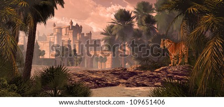 A landscape in India with gothic castle, date palms and Bengal tiger. / Bengal Tiger And Castle - stock photo