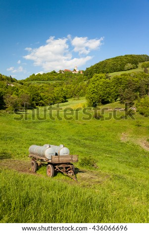 a Landscape in spring near Seitenroda and the castle Leuchtenburg