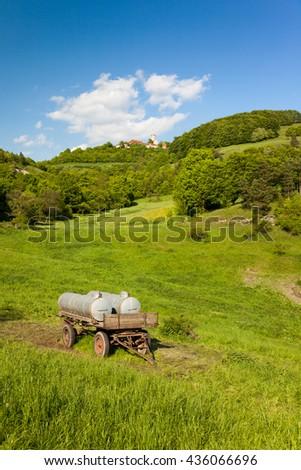 a Landscape in spring near Seitenroda and the castle Leuchtenburg - stock photo