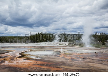 A landscape of Black Sand Basin covered with colorful thermophiles and hot springs, Yellowstone National Park, taken on May 18, 2016