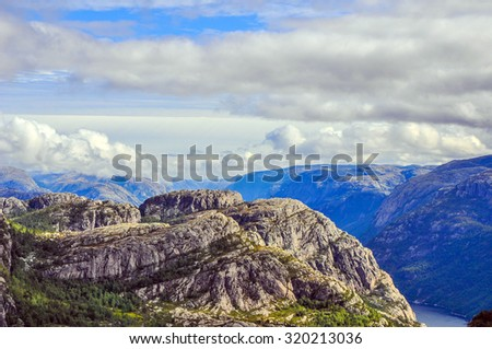 A landscape of Norway on the way to Preikestolen (Pulpit rock) - stock photo
