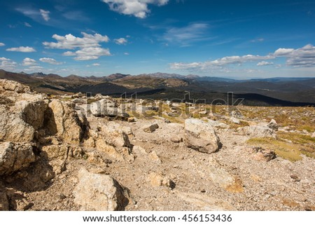 A landscape view of a peak in the Rocky Mountains, Colorado, USA - stock photo