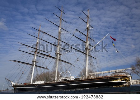 A landscape view of the Cutty Sark in London