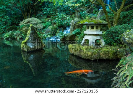 Lantern waterfall portland japanese garden stock photo for Portland japanese garden koi