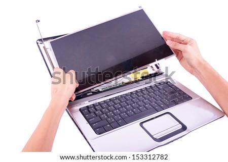 a Laptop Computer damage concept monitor fail - stock photo